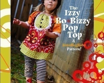 INSTANT DOWNLOAD Girls Top and Dress PDF Sewing Pattern The Izzy BoBizzy by ZozoBugBaby