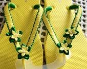 Flip flops - handmade - yellow and green - macrame - ribbon - flowers