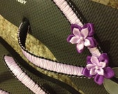 Flip flops - handmade - black and purple (purple straps)  - macrame - ribbon - flowers