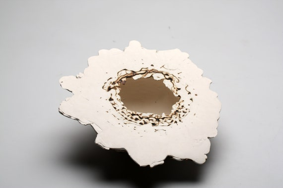 Earthenware vessel with white stoneware clay and copper oxide.