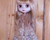 Blythe Doll OOAK Three Piece Silk Outfit -  Lace Skirt, Top or Jacket, Scarf - Vintage Lace and Tulle