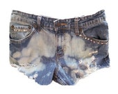 High Waisted Jean Shorts: Dyed and Studded (Size 27)