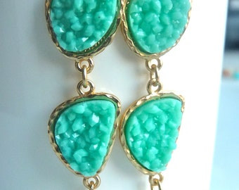 Druzy Drusy Mint Green Aqua Turquoise  Irregular Charm Gold Bezel Trio Long Dangle Earrings. Bridesmaids Gifts For Her 180
