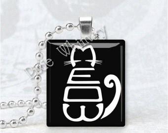 MEOW CAT KITTEN Scrabble Tile Art Pendant Charm