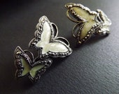 SALE 30% OFF - 1940's Vintage Marcasite and Mother of Pearl Butterfly Post Earrings