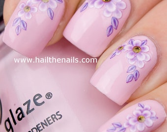 Lilac Daisy Flower Nail Art Water Transfer Decal YD021