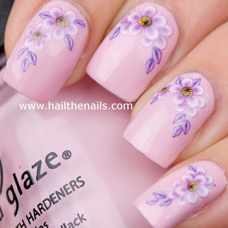 Lilac daisy flower nail art water transfer decal yd021 zoom prinsesfo Gallery