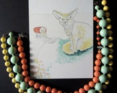 vintage bauble necklaces AND original painting art set: Fennec fox and sweet colors