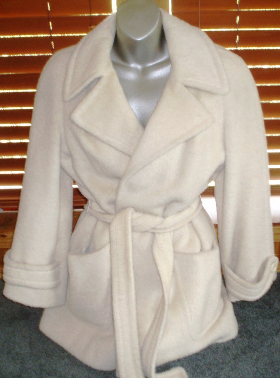 Vintage 1970s Llama Wool Trench Coat, Ivory, Cream, Denise Originals, Size 8