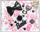 Pink & Black Girl Styled Large Ribbon DIY Cell Phone Cabochon Deco Kit AS6708