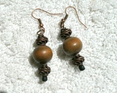 """Wood and brass earrings, """"Sassy."""""""