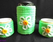 Hand crochet Daisies espresso cosy set (for pot and 2 cups) - shabby chic, retro