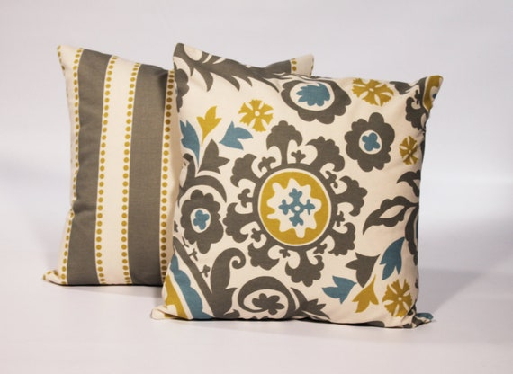 Items similar to 2 PILLOW COVERS with Zipper 18x18 Gray Decorative Pillow Cover 18 x 18 Throw ...