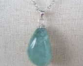 Necklace and hook 925 silver with aquamarine stone