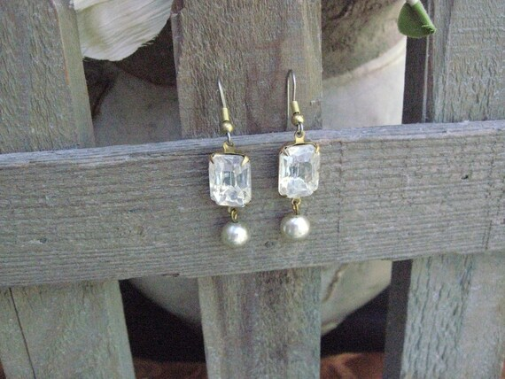 Vintage Upcycled Repurposed Jewelry Assemblage Lovely Vintage Czech Crystal and Pearl Drop Earrings