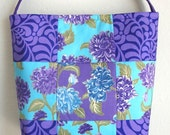 Small Quilted Tote bag in purple Jane Sassman and teal mums patchwork purse 10% off