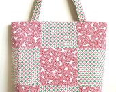 Large Christmas tote bag Candy Canes patchwork purse 10% off