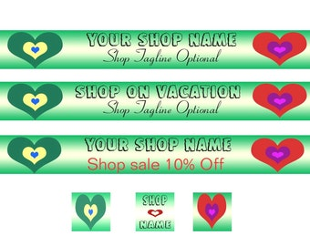 Banner Set - Two Hearts Design1  - OOAK Original Design - Green - Red -Blue - Purple - Yellow