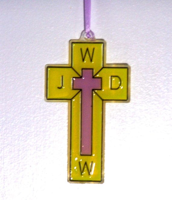 ORNAMENT - Cross- WWJD - Acrylic - Yellow & -Lilac Handpainted Home Decor
