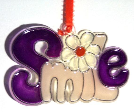 ORNAMENT - SMILE- Acrylic - Purple - Clear - Cream - Orange - Handpainted Home Decor