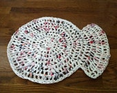 White Recycled Plastic Bag Fishy Mat