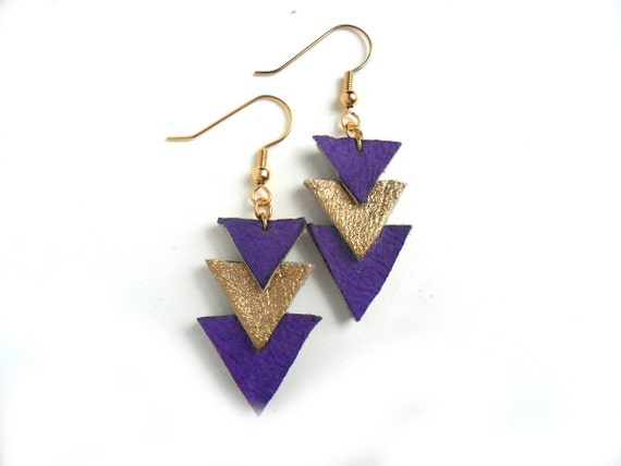 Purple and gold triangle geometric leather earrings
