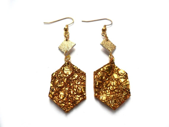 Bronze and gold diamond shapes geometric leather earrings