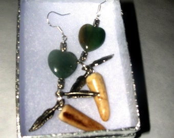 SPECIAL Antler Tip Jade Heart Earrings with Sterling Silver Wires