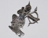 Old Siam Niello Pin, Rare Prince or Lord Rama Archer, Silver Nielloware