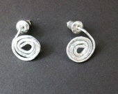 Silver Scrolled Stud Earring. Contemporary Design. Handmade. Lovely Gift for a Birthday.