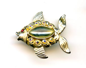 Fish Pin with Rhinestone Accents