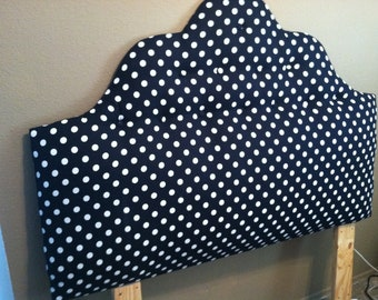 Twin size Black and White Poka Dot Headboard