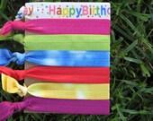 7 Pack Happy Birthday Tie Dye Knot Hair Ties Stretch Fold Over Elastic FOE Pony Tail Holder Bracelet -21