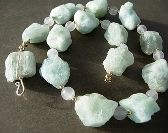 Rough Cut Aquamarine and Lavender Quartz Necklace and Earring Set