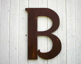 Wooden Letters B Large 24 inch Brown Distressed Wood Wall hanging Kid s Wall Art Wedding gift Home Decor Signs