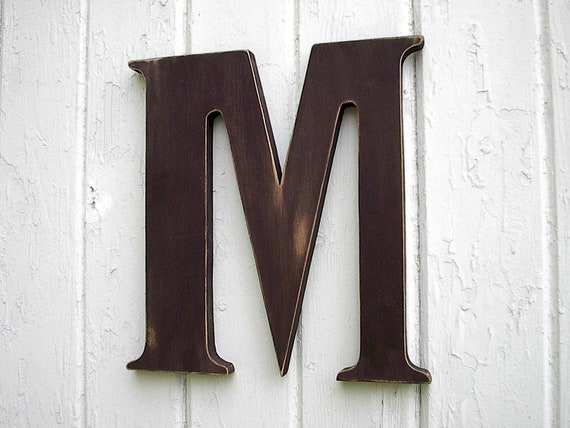 Wooden letters 18 m brown kids wall art nursery room for Party wall act letter to neighbour