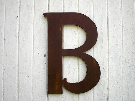 Large Decorative Wooden Letters: Wooden Letters B Large 24 Inch Brown Distressed Wood Wall