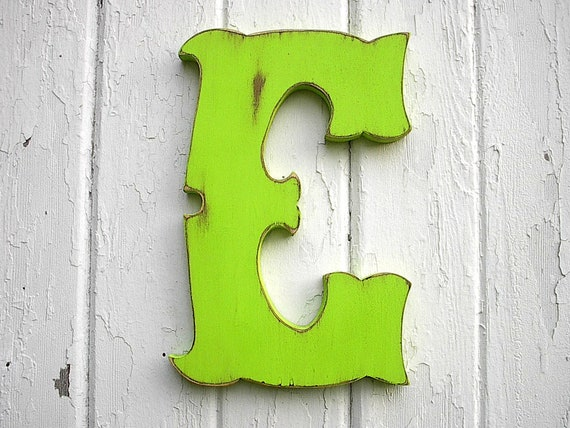 "Decorative Shabby chic Letter ""E"", 12 inch Dorm Wall Decor Wooden Wall Letters Green Distressed"
