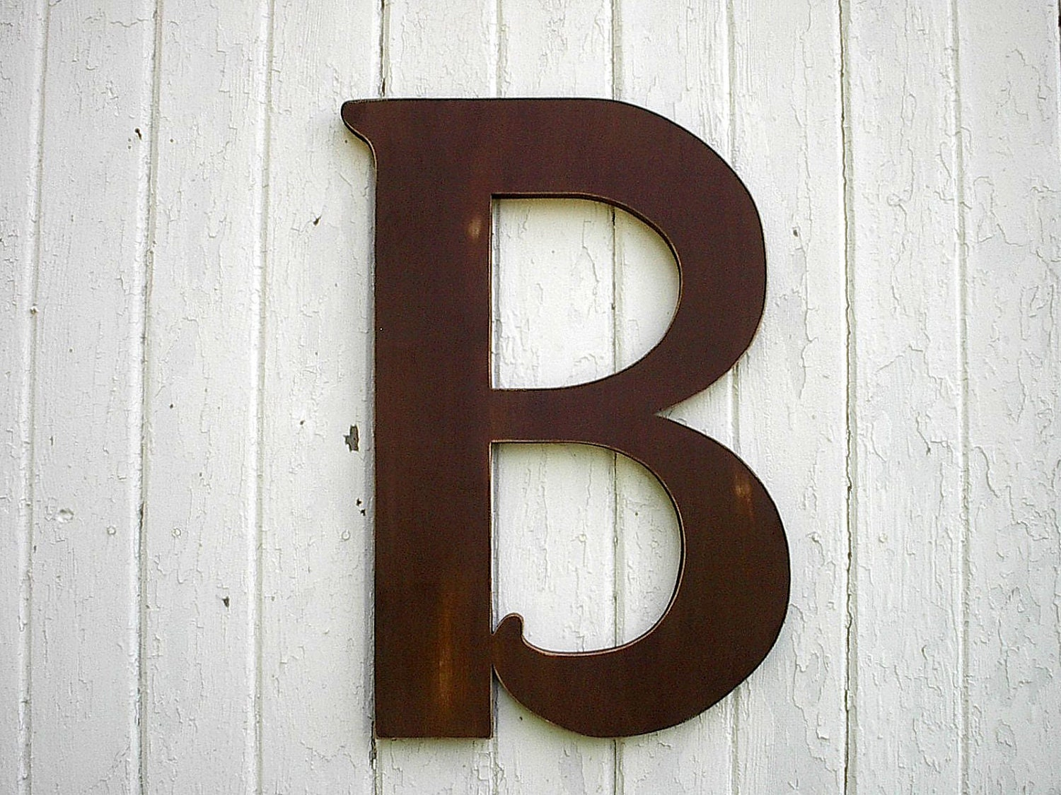 Wooden letters b large 24 inch brown distressed wood wall for Large letter k wall decor