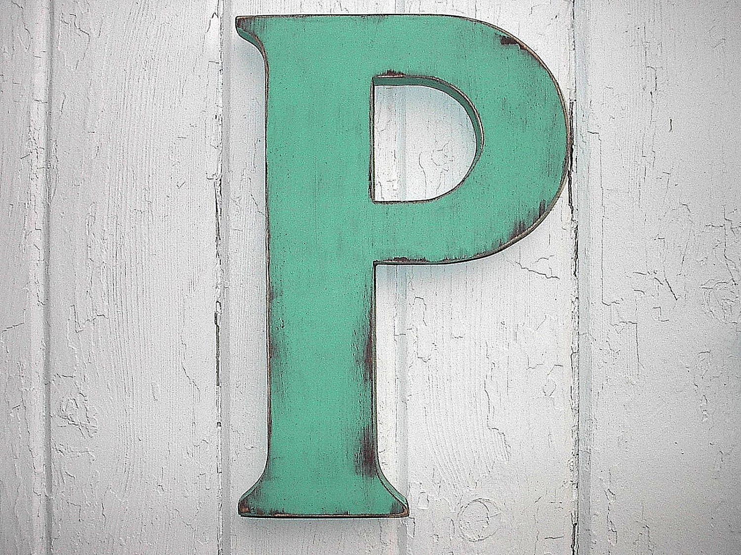 Wooden letters p 12 distressed green shower gift big - Wood letter wall decor ...