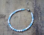 4mm Natural Howlite and Light Blue Cat's Eye Men's Bracelet