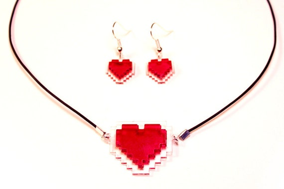 8-Bit Heart Necklace & Earring Set