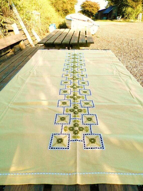 Vintage Danish Hand Embroidered Hardanger Linen TableCloth