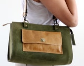 Leather women bag, tote bag, olive, camel, purse,shoulder bag, zipper closure, 2 straps,turn lock closure