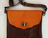 Leather tote bag for day or night, brown & orange color, messenger bag,women bag,crossbody bag