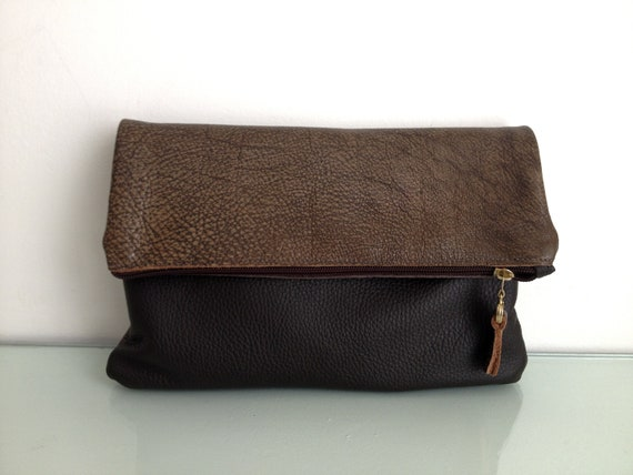 women leather clutch, purse,wristlet, wallet, brown & dark brown color