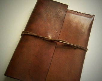 Leather Document Case, Folio, Attache...  Full Grain Veg Tan Leather. Handmade in my shop.