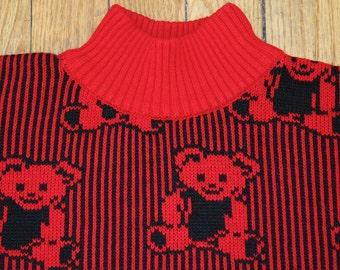 ON SALE Vintage 80's Children's Teddy Bear Sweater (size 3-5)