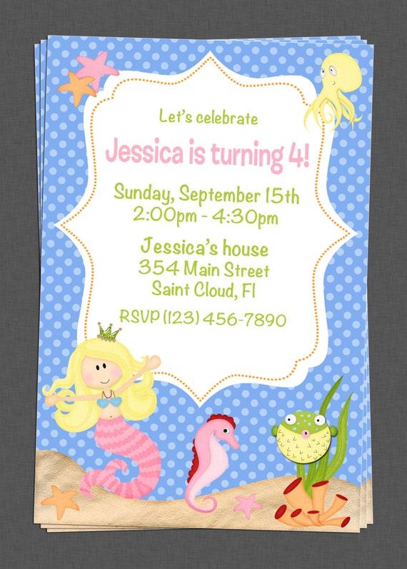 Custom Mermaid Under the Sea Party Birthday Invitations - DIY Printable File