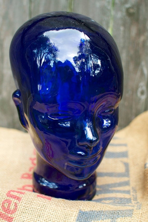 Vintage Blue Glass Mannequin Head By MRCG On Etsy